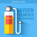 Oxygen cylinder for swimming.  Vector icon illustration background. Colorful template for you design, web and mobile Stock Photo