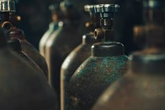 Oxygen cylinders for gas welding. stock photography