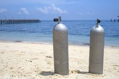 Oxygen Diving Tanks Royalty Free Stock Images
