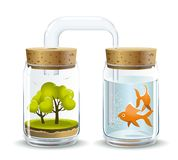 Oxygen for fish. Graphic illustration of trees providing oxygen for respiration of living organisms vector illustration