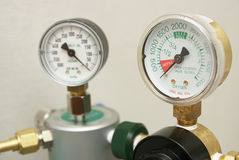 Oxygen gages regulator Stock Photo