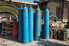 Oxygen and Gas Cylinders Stock Photography