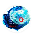 Oxygen icon - Watercolor paint - Badge style stock photo