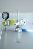 Oxygen inhalation apparatus. At the hospital room royalty free stock photos