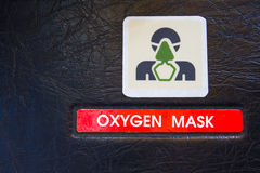 Oxygen Mask warning label in Airbus A320 cockpit Stock Image