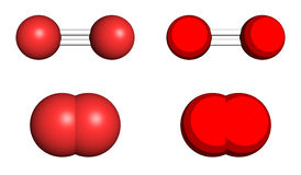 Oxygen molecule. Ball-and-stick and space filling models Royalty Free Stock Photos