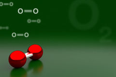 Oxygen or O2 Molecule Background, 3D Rendering Stock Image