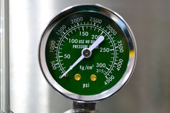 Oxygen pressure gauge stock photography