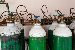 Oxygen supply tanks in hospital Stock Photography