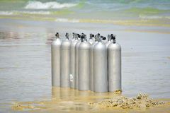 Oxygen tank on the beach Royalty Free Stock Photos