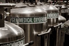 Oxygen Tanks. Large medical oxygen storage tanks stock image