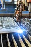 Oxygen torch cuts steel sheet. Royalty Free Stock Photo