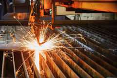 Oxygen torch cuts steel sheet. Royalty Free Stock Images