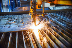 Oxygen torch cuts steel sheet. Stock Photography