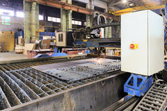 Oxygen torch cuts steel sheet. Stock Images