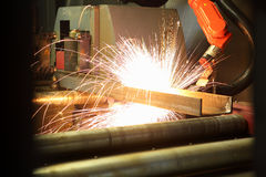 Oxygen torch cuts steel sheet. work place Royalty Free Stock Photos