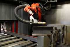 Oxygen torch cuts steel sheet. work place Royalty Free Stock Images