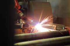 Oxygen torch cuts steel sheet. work place Stock Photo