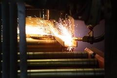 Oxygen torch cuts steel sheet. work place Stock Photos
