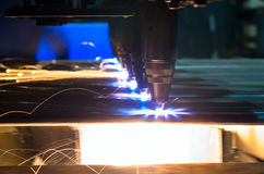 Oxygen Torches. Oxygen cutting sheet metal torches are working in motion stock images