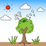 Oxygen Tree. Illustration of hand draw tree change carbon dioxide to oxygen Stock Images