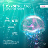 Oxygen Underwater jellyfish bubble for skin care concept. Oxygen Underwater jellyfish bubble. Skin care concept. Coenzyme Q10 and hyaluronic acid moisturizing stock illustration