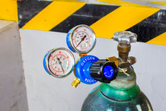The Oxygen valve and pressure gage on tank. Stock Image