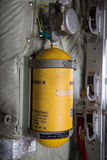 Oxygen Yellow Cylinder in a Military Airplane Stock Images