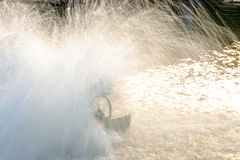 Oxygenation in water by turbine.  stock photos