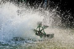 Oxygenation in water by turbine.  royalty free stock photos