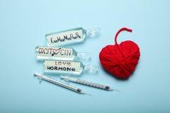 Oxytocin βιοχημικών ορμόνη, χημική βιοτεχνολογία Έννοια ορμονών αγάπης στοκ εικόνες με δικαίωμα ελεύθερης χρήσης