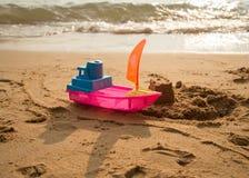 oy on the beach sand castle build Royalty Free Stock Photo