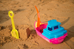 oy on the beach sand castle build Royalty Free Stock Image