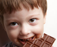 Oy with chocolate royalty free stock photo