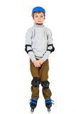 Oy in helmet rollerblading isolated Stock Photography