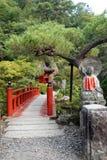 Oya ji temple garden bridge near Utsunomiya in Japan. Garden of Oya Temple 大谷寺,. Ōyaji is a 1200 year old Buddhist temple constructed in the stock photos