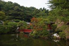 Oya ji temple garden near Utsunomiya in Japan. Garden of Oya Temple 大谷寺,. Ōyaji is a 1200 year old Buddhist temple constructed in the volcanic royalty free stock image