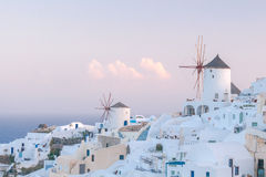 Oya. White windmills. Royalty Free Stock Photography