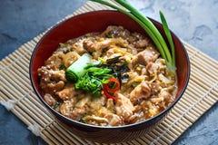 Oyakodon, Kippen en eikom, Japans voedsel, dichte mening Royalty-vrije Stock Afbeeldingen