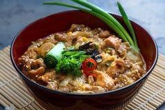 Oyakodon, Kippen en eikom, Japans voedsel, dichte mening Stock Foto's