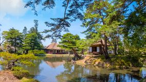 Oyakuen医药药草园在Aizuwakamatsu,福岛,日本 免版税库存照片