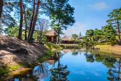Oyakuen medicinal herb garden in the city of Aizuwakamatsu, Fukushima, Japan. TOKYO, JAPAN - APRIL 19 2018: Oyakuen medicinal herb garden first established in stock photos
