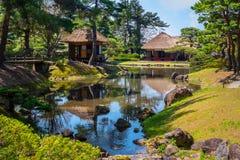 Oyakuen medicinsk örtagård i staden av Aizuwakamatsu, Fukushima, Japan Royaltyfri Bild