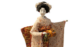 Oyama ningyo doll. A japanese doll of a woman playing her music instrument Stock Images