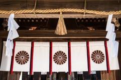 Oyamazumi-Schreinvorhang und heiliges Seil - Omishima-Insel - Ehi stockfotografie