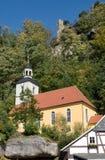 Oybin in Oberlausitz, Germany. Church and rock castle in village Oybin, Oberlausitz, Germany Stock Images