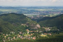 Oybin and Zittau from Hochwald, Germany. Oybin and Zittau from stone lookout tower on the peak Hochwald Hvozd, Lusatian mountain, Germany Stock Photography