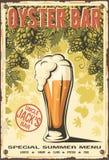 Oyster bar beer hop background grunge poster. Vector illustration Royalty Free Stock Photo