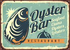 Oyster bar creative retro sign design Royalty Free Stock Image