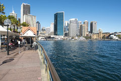 Oyster Bar to Circular Quay. A view across Circular Quay from infront of the Oyster Bar near the Opera house stock images